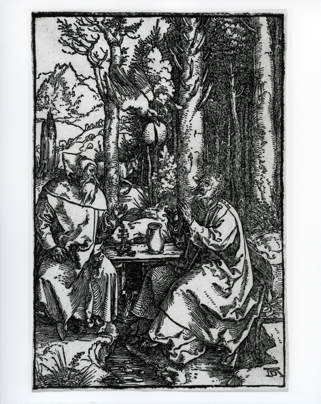 Albrecht Dürer (German, 1471–1528), The Hermits St. Anthony and St. Paul in the Desert, ca. 1504. Woodcut. Milwaukee Art Museum, Maurice and Esther Leah Ritz Collection M2004.179. Photo credit: Efraim Lev-er.