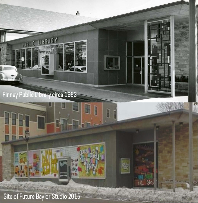 Finney Library in 1953 and the building in 2015 featuring Baylor's TypeFace art installation.