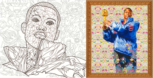 St. Dionysus, 2006 by Kehinde Wiley with Baylor's coloring book drawing. Photo credit: John R. Glembin.