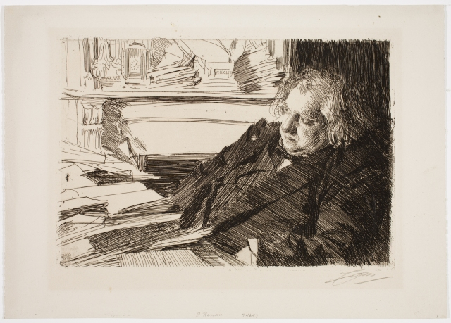 Anders Leonard Zorn (Swedish, 1860–1920), Ernest Renan, 1892. Etching, engraving, and drypoint. Milwaukee Art Museum, Gertrude Nunnemacher Schuchardt Collection, presented by William H. Schuchardt M1924.135. Photo credit: John R. Glembin.