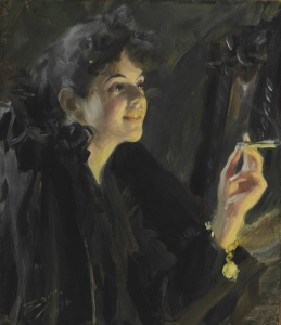 Anders Leonard Zorn (Swedish, 1860–1920), The Cigarette Girl, 1892. Oil on canvas. Sold at Christie's, New York on October 27, 2014.