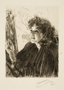 Anders Leonard Zorn (Swedish, 1860–1920), Girl With A Cigarette II, 1891. Etching. Milwaukee Art Museum, Gertrude Nunnemacher Schuchardt Collection, presented by William H. Schuchardt M1924.131. Photo credit: John R. Glembin.