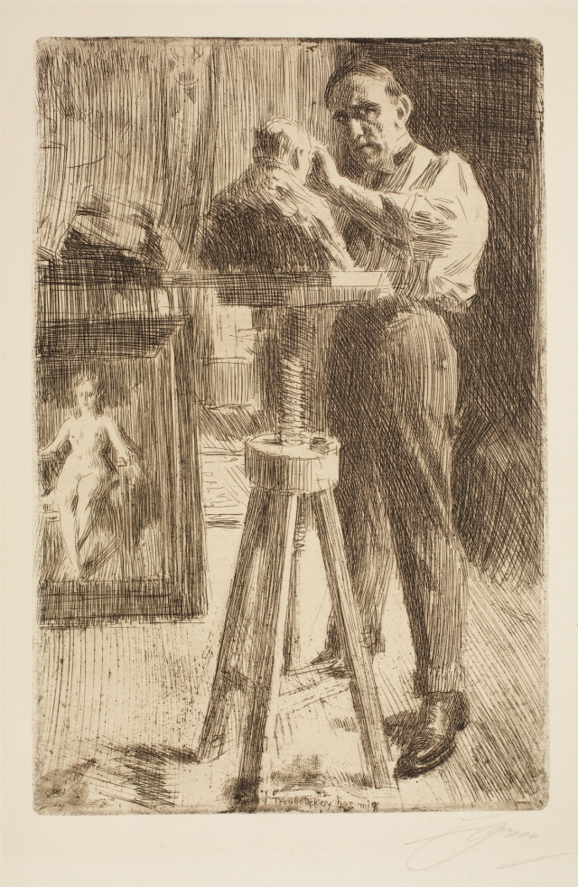 Anders Anders Leonard Zorn (Swedish, 1860–1920), Prince Paul Troubetzkoy I, 1908. Etching and roulette. Milwaukee Art Museum, Gertrude Nunnemacher Schuchardt Collection, presented by William H. Schuchardt M1924.142. Photo credit: John R. Glembin.
