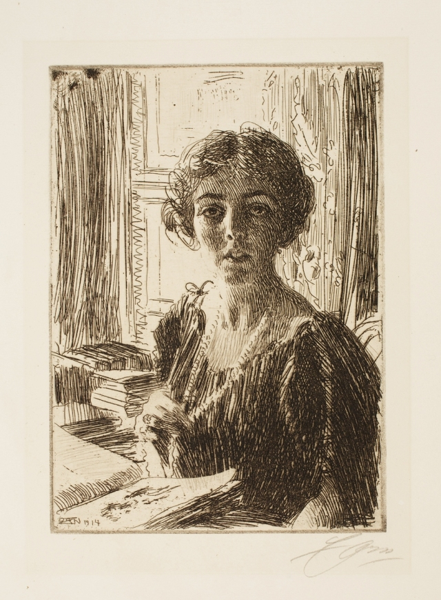 Leonard Zorn (Swedish, 1860–1920), The Crown-Princess Margaret Of Sweden, 1914. Etching. Milwaukee Art Museum, Gertrude Nunnemacher Schuchardt Collection, presented by William H. Schuchardt M1924.143. Photo credit: John R. Glembin.