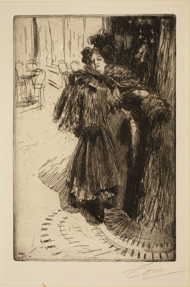 Anders Leonard Zorn (Swedish, 1860–1920), Effet de Nuit III (Effect of Night), 1897. Etching, possibly engraving, and drypoint. Milwaukee Art Museum, Gertrude Nunnemacher Schuchardt Collection, presented by William H. Schuchardt M1924.144. Photo credit: John R. Glembin.