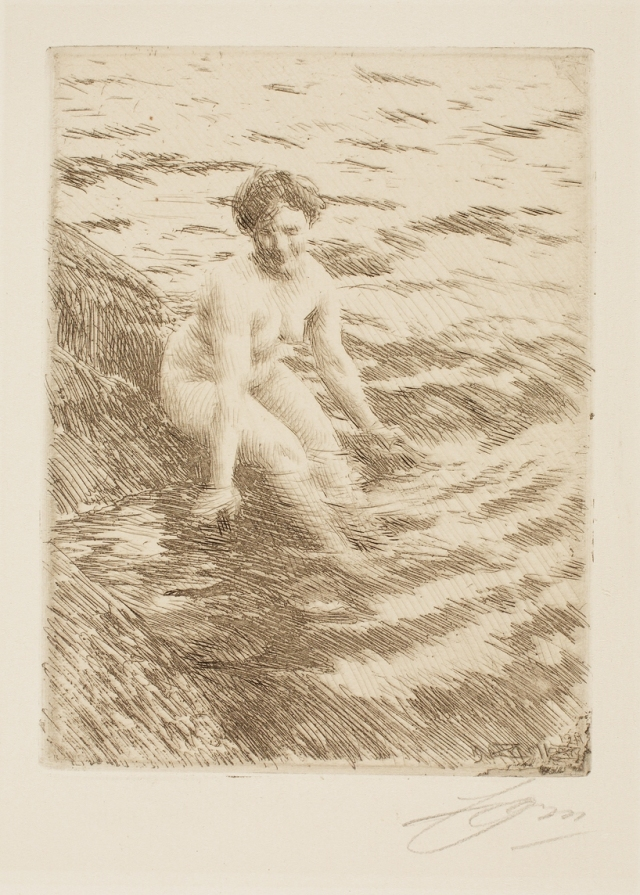 Anders Leonard Zorn (Swedish, 1860–1920), Wet (Vått), 1911. Etching; engraving, and possibly drypoint. Milwaukee Art Museum, Gertrude Nunnemacher Schuchardt Collection, presented by William H. Schuchardt M1924.132. Photo credit: John R. Glembin