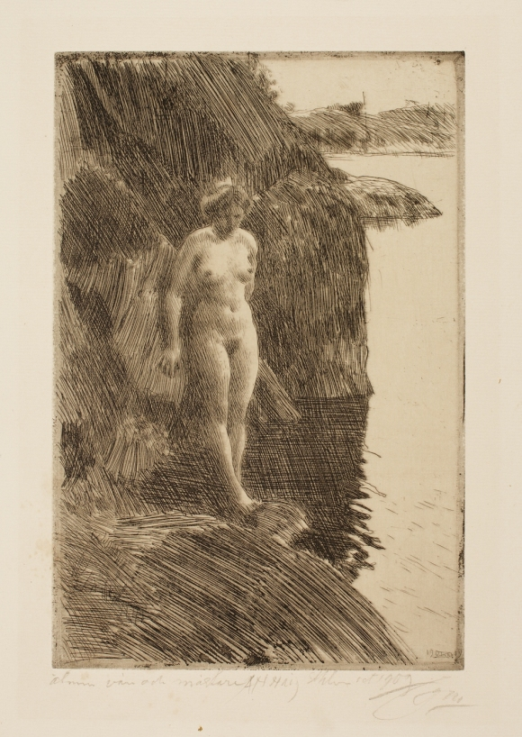 Anders Leonard Zorn (Swedish, 1860–1920), Precipice, 1909. Etching. Milwaukee Art Museum, Gertrude Nunnemacher Schuchardt Collection, presented by William H. Schuchardt M1924.137. Photo credit: John R. Glembin