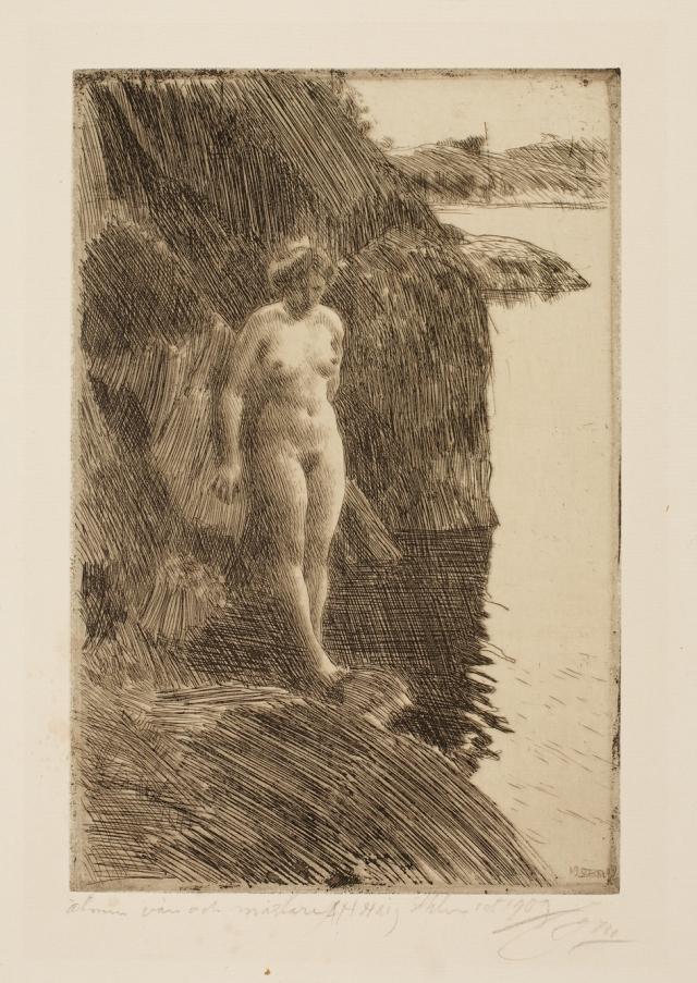 Anders Leonard Zorn (Swedish, 1860–1920), Precipice, 1909. Etching. Milwaukee Art Museum, Gertrude Nunnemacher Schuchardt Collection, presented by William H. Schuchardt M1924.137. Photo credit: John R. Glembin