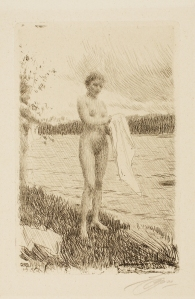 Anders Leonard Zorn (Swedish, 1860–1920), Dal River (Dalälven), 1919. Etching, roulette, drypoint, and engraving. Milwaukee Art Museum, Gift of Mr. Lindsay Hoben M1966.111. Photo credit: John R. Glembin