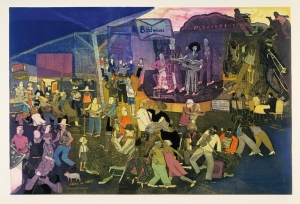 Warrington Colescott (American, b. 1921), Suite Louisiana: The Music of the Folks, 1996. Color soft-ground etching, aquatint, and spit bite, with à la poupée inking, and relief rolls through stencils. Milwaukee Art Museum, Gift of the artist and Frances Myers M2004.538. Photo credit: Michael Tropea © Warrington Colescott
