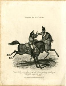 Captain Kelly gallantly attacking a mounted Cuirassier, from the series Battle of Waterloo, 1816. Published by Thomas Kelly (British, active 1815–1830). Engraving. The British Museum 1875,0612.200. © Trustees of the British Museum.