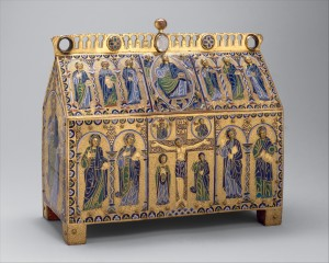 Limoges, France, Chasse with the Crucifixion and Christ in Majesty, ca. 1180–90. Copper: engraved, chiseled, stippled, and gilt; champlevé enamel: dark, medium, and light blue; turquoise, dark and light green, yellow, red, and white; wood core, painted red on exterior. The Metropolitan Museum of Art, Gift of J. Pierpont Morgan, 1917 17.190.514.