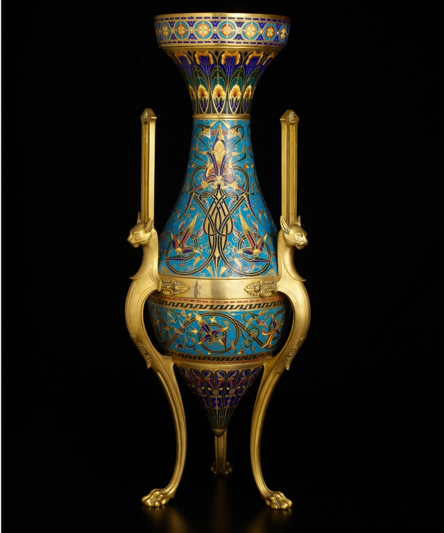 Designed by Louis-Constant Sévin (French, 1821–1881) and Manufactured by Firm of F. Barbedienne (French, 1858–1955), Monumental Ormolu-Mounted Enamel Vase, 1867. Copper, gilt bronze, and cloisonné enamel. 30 1/2 × 12 in. (77.47 × 30.48 cm). Milwaukee Art Museum, Purchase, with funds from Avis Martin Heller in honor of the Fine Arts Society and the Fine Arts Society in memory of Jane and Donald Doud M2014.10. Photo credit: Photograph courtesy of H. Blairman & Sons Ltd, London.