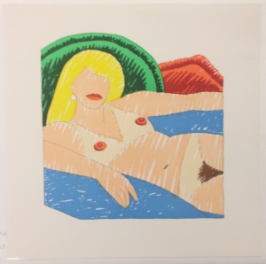 Tom Wesselmann (American, 1931–2004), Shiny Nude, from the Rubber Stamp Portfolio, 1976, published 1977. Rubber stamp print, printed in color. Image: 5 7/8 × 5 11/16 in. (14.92 × 14.45 cm); sheet: 8 × 8 in. (20.32 × 20.32 cm). Gift of Virginia M. and J. Thomas Maher III M1994.263.1. © Estate of Tom Wesselmann/Licensed by VAGA, New York, NY.