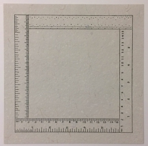 Sylvia Plimack Mangold (American, b. 1938), Six Inches Four Ways, from the Rubber Stamp Portfolio, 1976, published 1977. Rubber stamp print on light gray paper. Image and sheet: 8 × 8 in. (20.32 × 20.32 cm). Gift of Virginia M. and J. Thomas Maher III M1994.263.8. © 2016 Sylvia Plimack Mangold.
