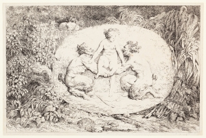 Jean-Honoré Fragonard (French, 1732–1806), Nymph Supported by Two Satyrs, from the series Bacchanals, 1763. Etching. Plate and sheet: 5 7/16 × 8 1/8 in. (13.81 × 20.64 cm). Milwaukee Art Museum, Gift of the DASS Fund M2010.65.1. Photo credit: John R. Glembin.