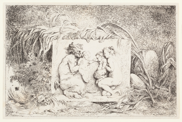 Jean-Honoré Fragonard (French, 1732–1806), The Satyr's Family, from the series Bacchanals, 1763. Etching. Plate and sheet: 5 1/2 × 8 5/16 in. (13.97 × 21.11 cm). Milwaukee Art Museum, Gift of the DASS Fund M2010.65.2. Photo credit: John R. Glembin.