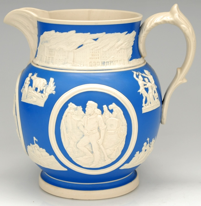 Frank E. Burley for Copeland and Spode, Chicago Pitcher, 1893. Jasperware. Chipstone Foundation.