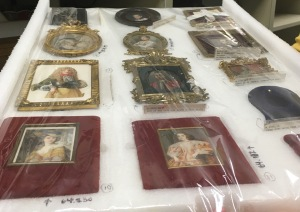 Portrait miniatures in storage. Photo by the author.