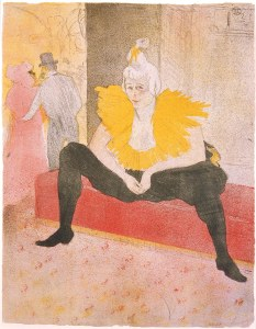 Henri de Toulouse-Lautrec (French, 1864–1901), The Seated Clowness (Mademoiselle Cha-u-Kao), from the portfolio Elles, 1896. Color lithograph. Image and sheet: 20 9/16 × 16 in. (52.23 × 40.64 cm). Milwaukee Art Museum Gift of Mrs. Harry Lynde Bradley M1977.65. Photo credit: Larry Sanders.