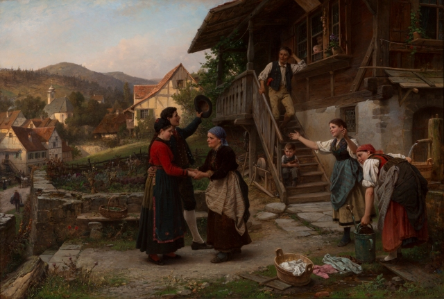 Benjamin Vautier the Elder (Swiss, 1829–1898), The Homecoming, 1881. Oil on canvas. Milwaukee Art Museum, Gift of the René von Schleinitz Foundation M1962.100. Photo credit: John R. Glembin.