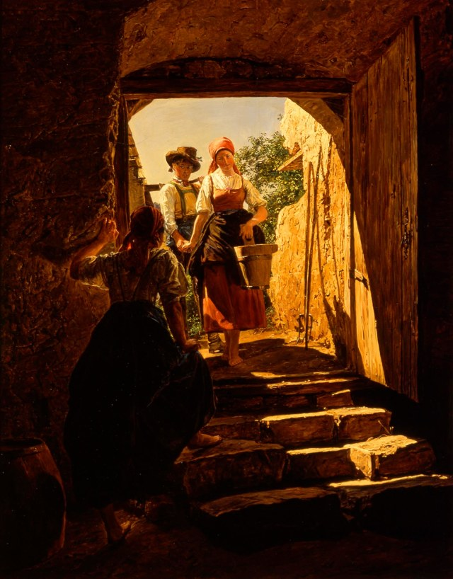 Ferdinand Georg Waldmüller (Austrian, 1793–1865), The Interruption, 1853. Oil on wood panel. Milwaukee Art Museum, Gift of the René von Schleinitz Foundation M1962.126. Photo credit: John R. Glembin.