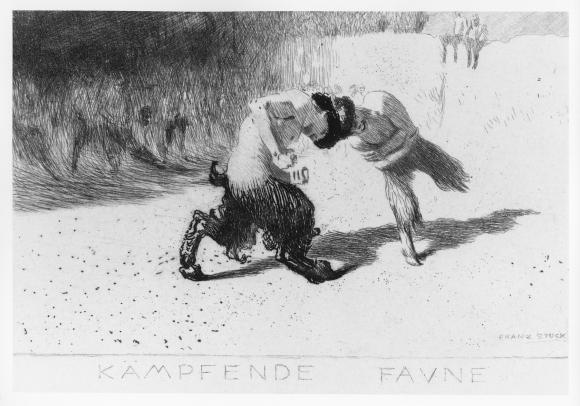 Franz von Stuck (German, 1863–1928), Fighting Fauns (Kämpfende Faune), 1889. Etching. Plate: 3 7/8 × 5 5/8 in. (9.84 × 14.29 cm). Milwaukee Art Museum, Purchase, René von Schleinitz Memorial Fund M1995.294. Photo credit: Larry Sanders.