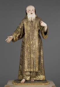 "Saint Ginés de la Jara, ca. 1692, sculpted by Luisa Roldán, called ""La Roldana"" (Spanish, 1652-1706) and polychromed by Tomás de Los Arcos (Spanish, born 1661). Polychromed wood (pine and cedar) with glass eyes. 175.9 × 91.9 × 74 cm (69 1/4 × 36 3/16 × 29 1/8 in.). The J. Paul Getty Museum 85.SD.161. Digital image courtesy of the Getty's Open Content Program."