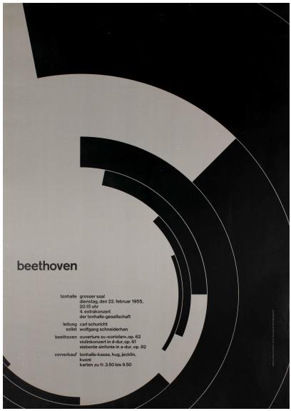 Josef Müller-Brockmann (Swiss, 1914–1996), Beethoven, 1955. Lithograph. 50 × 35 1/2 in. (127 × 90.17 cm). Lent by Merrill C. Berman.