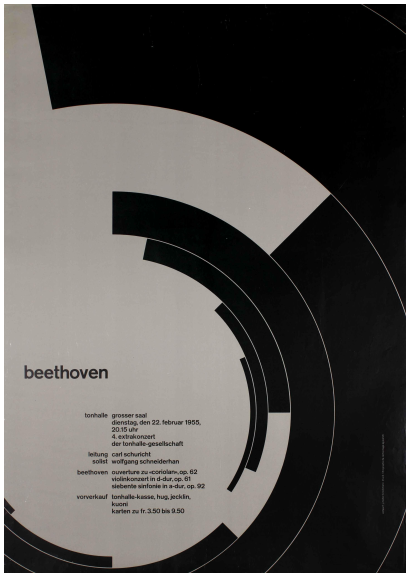 Josef Müller-Brockmann (Swiss, 1914–1996), Beethoven, 1955. Lithograph. 50 × 35 1/2 in. (127 × 90.17 cm). Lent by Merrill C. Berman.