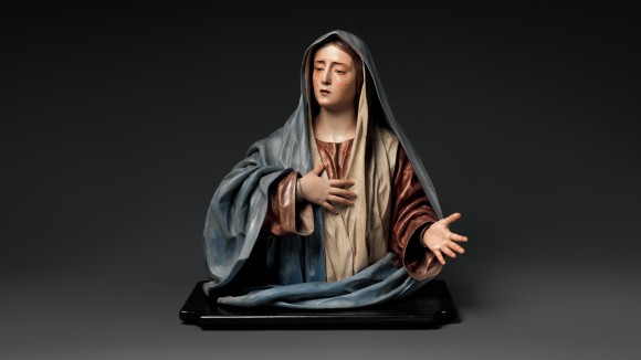 Pedro de Mena (Spanish, Granada 1628–1688 Málaga), Mater Dolorosa, ca. 1674–85. Partial-gilt polychrome wood. 24 13/16 × 23 1/8 × 15 in. (63 × 58.7 × 38.1 cm). The Metrpolitan Museum of Art, Purchase, Lila Acheson Wallace Gift, Mary Trumbell Adams Fund, and Gift of Dr. Mortimer D. Sackler, Theresa Sackler and Family, 2014.