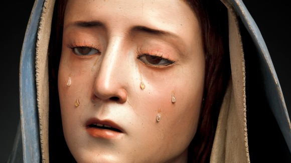 Pedro de Mena (Spanish, Granada 1628–1688 Málaga), Mater Dolorosa (detail), ca. 1674–85. Partial-gilt polychrome wood. 24 13/16 × 23 1/8 × 15 in. (63 × 58.7 × 38.1 cm). The Metrpolitan Museum of Art, Purchase, Lila Acheson Wallace Gift, Mary Trumbell Adams Fund, and Gift of Dr. Mortimer D. Sackler, Theresa Sackler and Family, 2014.