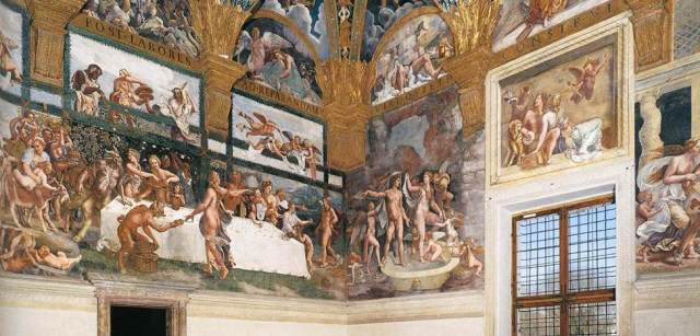 Giulio Romano (Italian, probably 1499–1546). View of the fresco on the west and north walls of the Sala di Psiche in the Palazzo del Tè, Mantua, 1526-28.