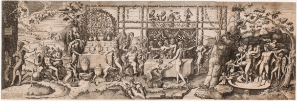Diana Mantuana (Italian, ca. 1547–1612), after Giulio Romano (Italian, probably 1499–1546). Preparations for the Wedding Banquet of Cupid and Psyche, 1575. Engraving. Plate and sheet: 14 13/16 × 44 1/8 in. (37.62 × 112.08 cm). Milwaukee Art Museum, Gift of the DASS Fund M2013.34. Photo credit: John R. Glembin.