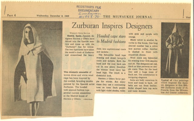 Article on coat inspired by Milwaukee's Zurbarán painting. Milwaukee Journal, December 8, 1965.