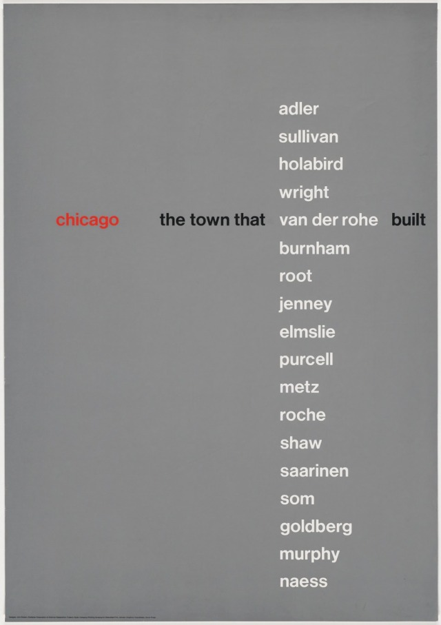 John Rieben (American, b. 1935), Chicago, the Town that Van der Rohe Built, 1966. Screenprint 50 × 35 in. (127 × 88.9 cm) Lent by John Rieben.