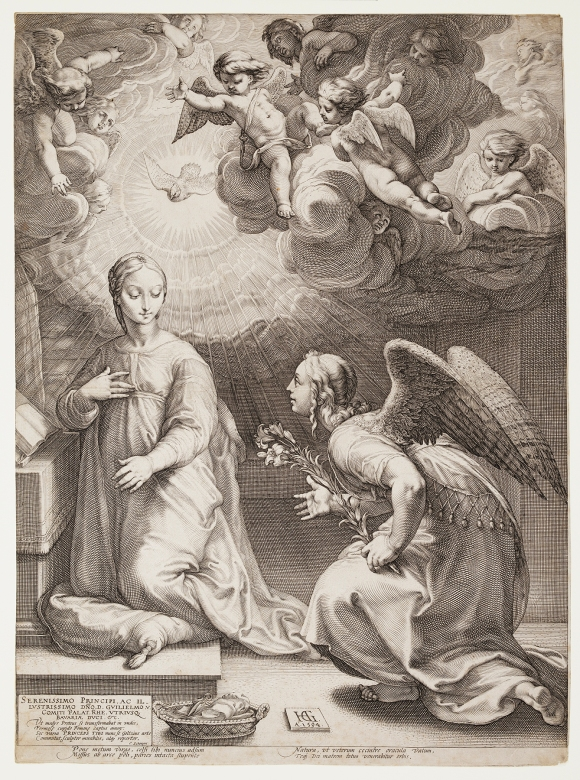 Hendrick Goltzius (Dutch, 1558–1617), The Annunciation, from the series The Life of the Virgin, 1594. Engraving. Milwaukee Art Museum, Gift of Dr. and Mrs. Christopher Graf M1980.233. Photo credit: John R. Glembin.