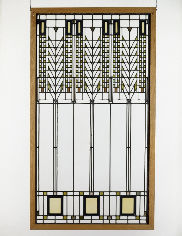 """Frank Lloyd Wright (American, 1867–1959). """"Tree of Life"""" Window from the Darwin D. Martin House (Buffalo, New York), 1904. Glass with zinc cames. Milwaukee Art Museum, Gift of the Frederick Layton Art League in memory of Miss Charlotte Partridge and Miss Miriam Frink M1978.262. Photo credit: Richard Beauchamp. © Frank Lloyd Wright Foundation."""
