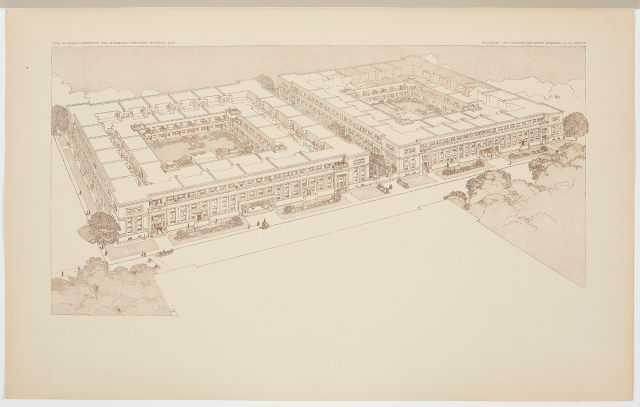 Birds-Eye Perspective of the Lexington Terraces, Chicago, Illinois. (Tafel VII. Vogelperspektive der Lexington-Terrassen, Chicago, ILLS.), plate 7 from the Wasmuth Portfolio (Ausgeführte Bauten und Entwürfe von Frank Lloyd Wright), 1910. Lithograph on tissue. Milwaukee Art Museum, Purchase, with funds from the Edward U. Demmer Foundation. M2014.54.7b. Photo credit: John R. Glembin.