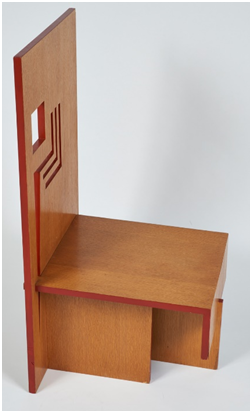 Frank Lloyd Wright (American, 1867–1959), Usonian Exhibition Dining Chair, 1953. Oak and plywood. Milwaukee Art Museum, Purchase, in memory of Evelyn Brindis Demmer with funds from the the Demmer Charitable Trust, Jody Brindis Goisman & Dick Goisman, Dr. Charles Brindis & Debra L. Brindis, and Wayne & Kristine Lueders.