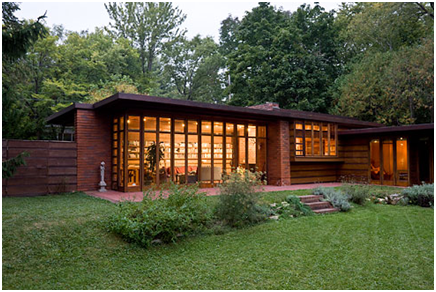 The first completed Usonian house, Herbert Jacobs House (Jacobs 1) in Madison, WI, 1937. Photograph by David Heald © The Solomon R. Guggenheim Foundation, New York. From T Magazine, 29 May 2009.