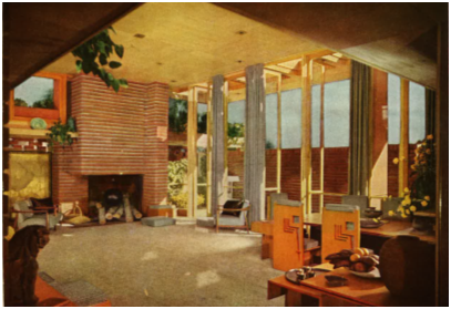 The Usonian Exhibition House living room illustrated in House Beautiful, 1955.