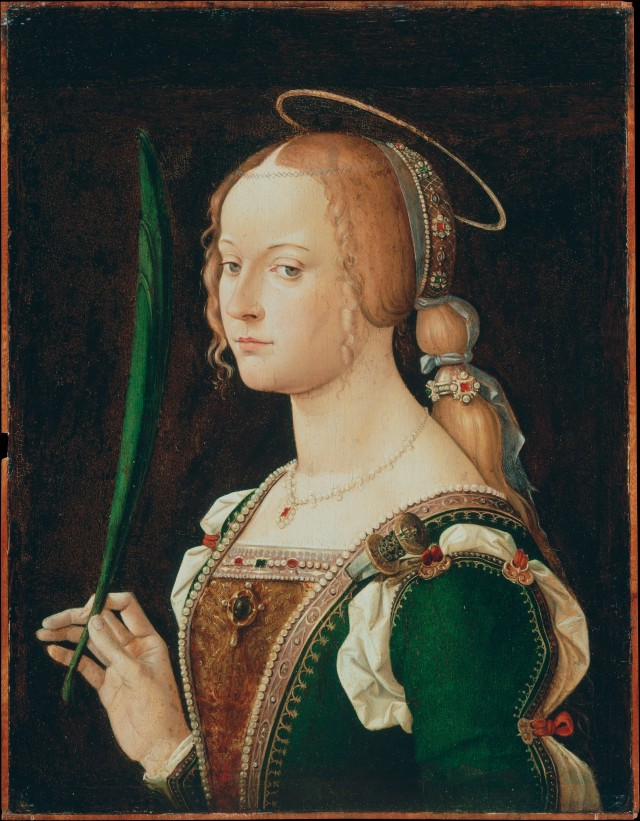 Bartolomeo Montagna (Bartolomeo Cincani) (Italian, before 1459–1523), Saint Justina of Padua, 1490s. Oil on wood. The Metropolitan Museum of Art, Bequest of Benjamin Altman, 1913, 14.40.606.