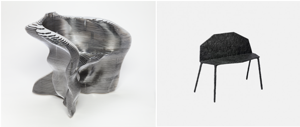 Left: Mathias Bengtsson (Danish, b. 1971), Slice Chair, 1999. Aluminum. Milwaukee Art Museum, Gift of Friends of Art, M2011.11. Photo by John R. Glembin; right: Jonathan Muecke (American, b. 1983), Bench, 2011. Carbon fiber and epoxy resin. Milwaukee Art Museum, Purchase, with funds from the Stern Fund, M2017.58. Photo courtesy of Volume Gallery, Chicago.