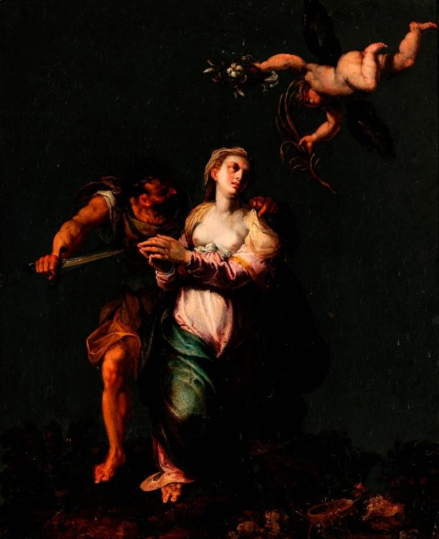 Attributed to Domenico Brusasorci (Italian, ca. 1516–1567), Martyrdom of St. Justina of Padua, mid–16th century. Oil on slate. Milwaukee Art Museum, Gift of Myron Laskin Jr. M2016.117 Photo credit: John R. Glembin.