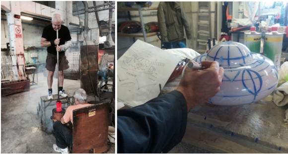 Left: glass is blown into a mold; right: Chausiki (Born at Night) is marked for etching based on a specification drawing from Hayon Studio. Courtesy of Hayon Studio.