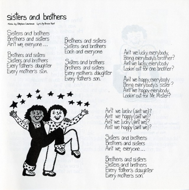 Page from Free to Be…You and Me lyrics book. Bea Feitler (Brazilian, 1938–1982), illustrations by Laurie Glick (American, active 1970s), manufactured by Arista Records (New York, founded 1974) Music by Marlo Thomas (American, b. 1937) and Stephen Lawrence (American, b. 1939), Free to Be... You and Me, 1972. Vinyl, paper, and printed cardboard. Private collection.