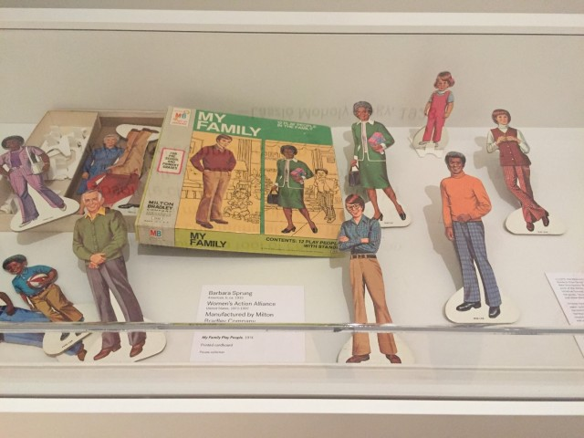 Installation view. Barbara Sprung (American) with the Women's Action Alliance (United States, 1971–1997), manufactured by Milton Bradley Company (Springfield, Massachusetts, 1860–1984), My Family Play People, 1974. Printed cardboard and plastic. Private collection. Photo by author.