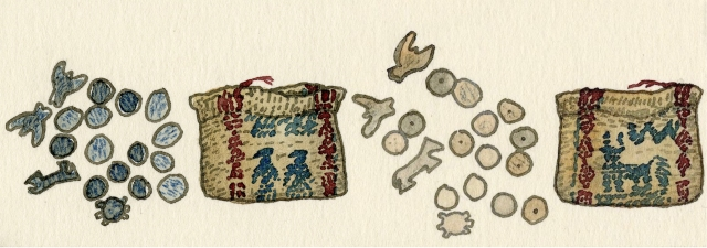 Left: Woven bag with carved antler dice (circa 1880); Right: Reverse view of woven bag with carved antler dice.