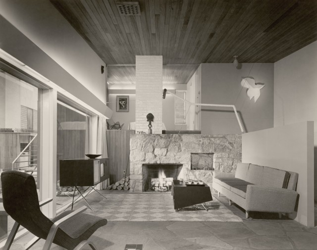 """Installation view of the exhibition """"The House in the Museum Garden,""""April 12, 1949–October 30, 1949. Photographic Archive, Exhibition Albums, 405.9. The Museum of Modern Art Archives, New York. IN405.15. Photograph by Ezra Stoller"""